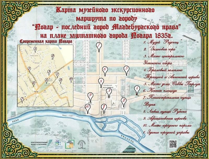Карта пешеходного музейного туристического маршрута